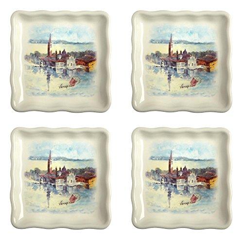 """Venice"" Square Plates Set of 4"