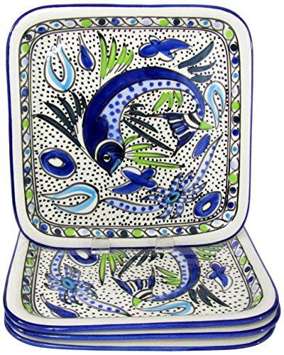 Le Souk Ceramique AF37 Stoneware Square Plates Set of 4 Aqua Fish