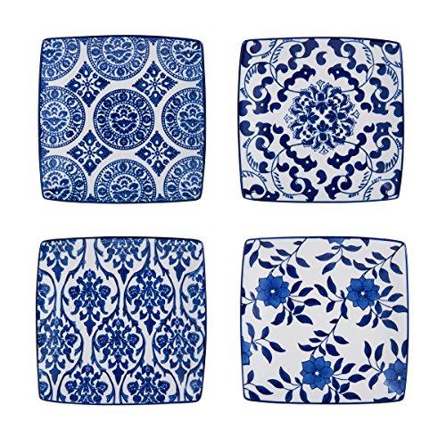 Pfaltzgraff Blue and White SaladDessert Square Plates Set of 4 Assorted