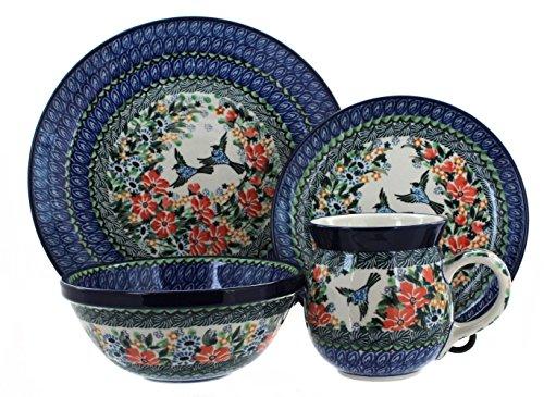 Blue Rose Polish Pottery Maria 16 Piece Dinner Set