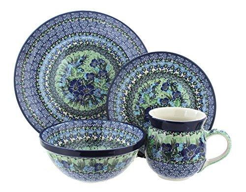 Blue Rose Polish Pottery Sapphire Fields 16 Piece Dinner Set
