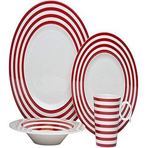 Red Vanilla FLR10-9044-NW Freshness Lines Red 16 Piece Dinner Set 1 White