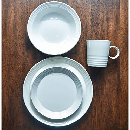 Terrastone White Stoneware Round 16-Piece Dinner Set Solid Casual Modern Contemporary 16 Piece Dishwasher Safe Microwave