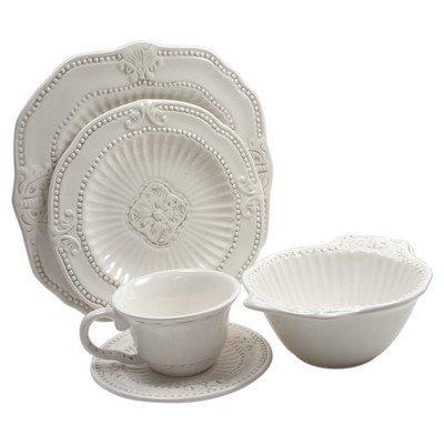 American Atelier Baroque 20-Piece Dinnerware Set - White