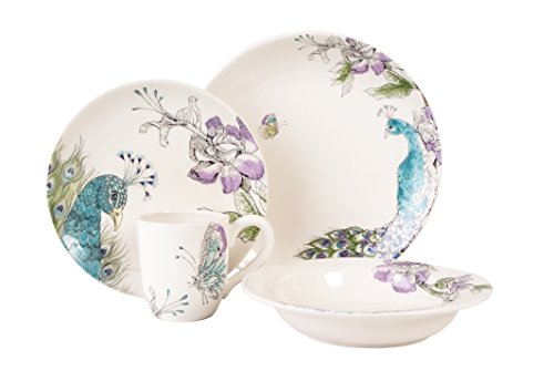 Fitz and Floyd 20-295 Peacock 4-Piece Dinnerware Set