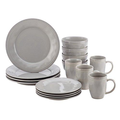 Rachael Ray Cucina Dinnerware 16-Piece Stoneware Dinnerware Set Sea Salt Grey