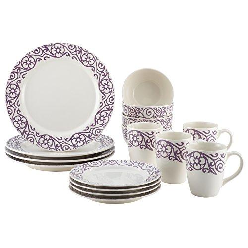 Rachael Ray Dinnerware 16-Piece Scroll Stoneware Dinnerware Set Lavender