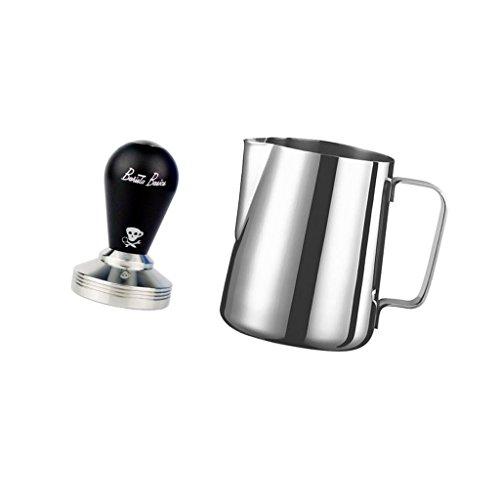 MonkeyJack Stainless Steel Milk Pitcher Coffee Latte Frothing Milk 1L  Coffee Tamper
