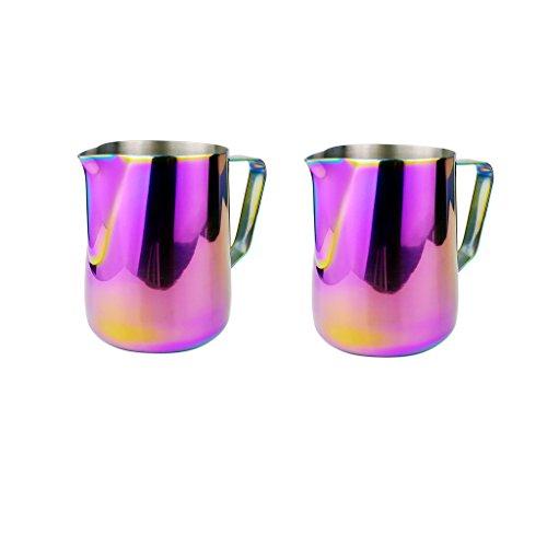 MagiDeal 2pcs Kitchen Craft Coffee Frothing Milk Latte Jug Fancy Coffee Foam Cup