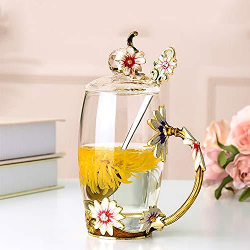 Creative Coffee Mug,glass Mug Tea Mug Heat-resistant With Spoon Light Luxury Cup Breakfast Cup Travel Mug Retro For Living Room Gift-b