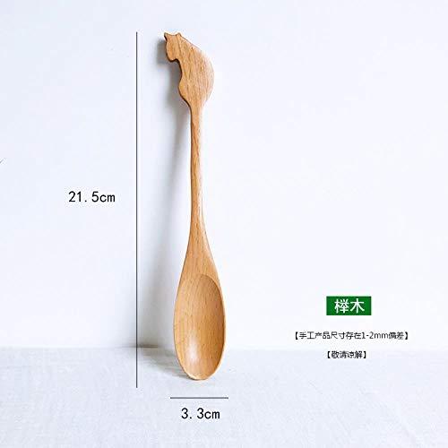 Wooden tableware long handle mixing spoon solid wood large spoon wooden spoon coffee spoon light green 25 spoon