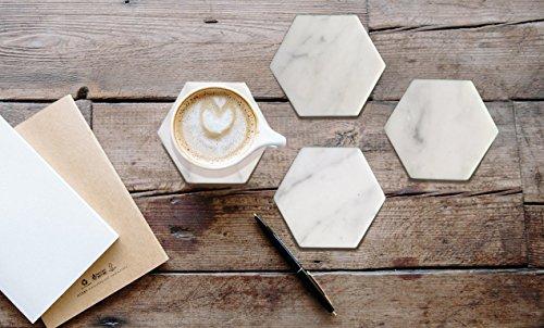 Hexagon White Marble Coasters Italian White Carrara  Set of 4