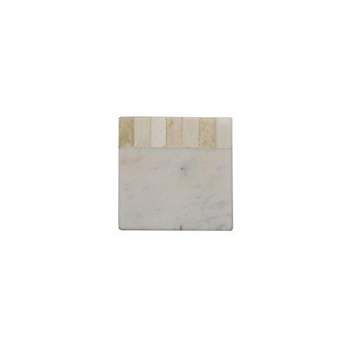 Jodhpuri White Marble Coaster with Bone White Set of 4