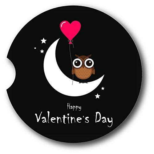Owl Valentines Day Sandstone Car Coasters - Set of 2