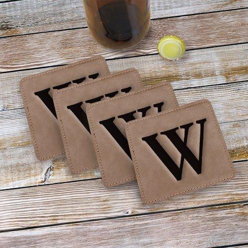 Monogram Engraved Leather Coasters Set of 4