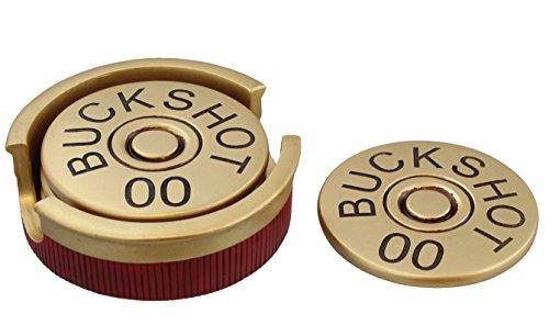 00 Buckshot Shotgun Shot Shell Coaster Set with Holder
