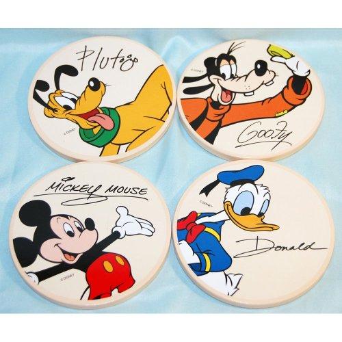 Disney Parks Mickey Donald Goofy Pluto 4 Piece Coaster Set With Holder