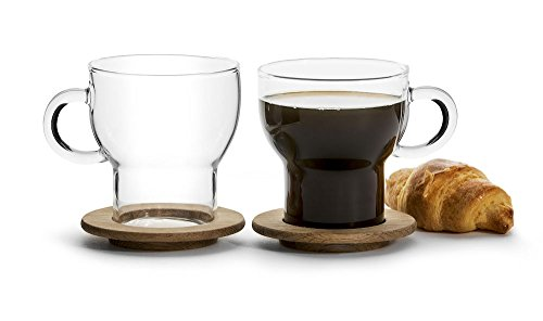 Sagaform 5017746 Glass Hot Beverage Mugs with Oak Coasters Set of 2