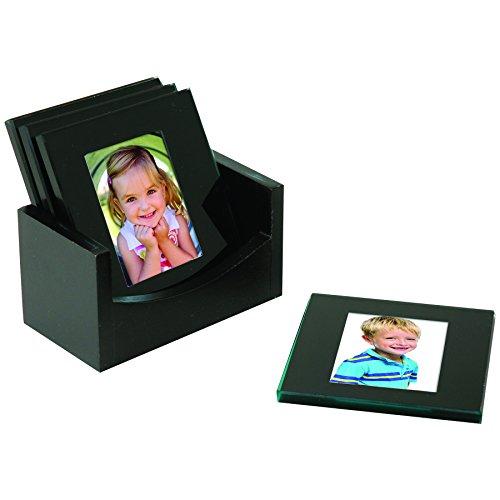 Black Glass Photo Coasters - Set of 4