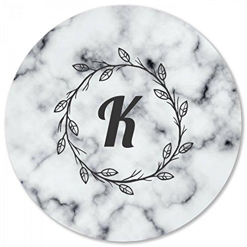 Custom Initial Marble Print Coaster Round Plastic Coaster