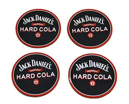 Plastic Coasters Set Of 4 Jack Daniels Hard Cola Rubber Coasters Mini Beverage Mats 25 X 013 X 25 Inches Black