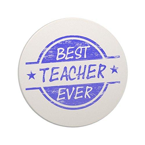 Zazzle Best Teacher Ever Blue Drink Coaster