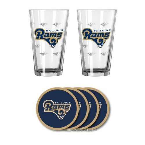 NFL Rams - Satin Etched Pint Glasses Beverage Coasters Set  St Louis Rams Beverage Set