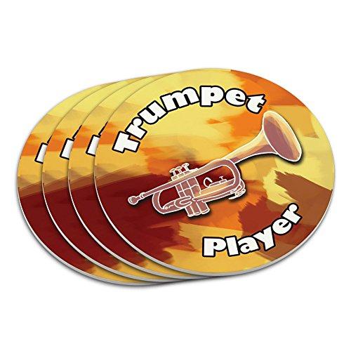 Trumpet Player Band Instrument Brass Coaster Set