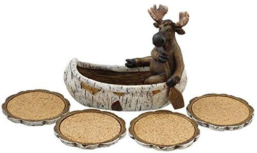 Decorative Moose Canoeing Coaster Set - 4 Rustic Cork Coasters Holder Set
