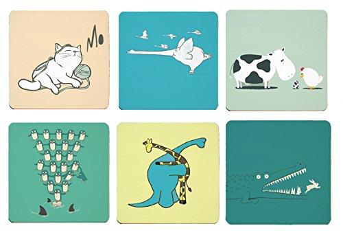 Cimostar Creative Wooden Coasters Artistic Design Set of 6 Cute animals