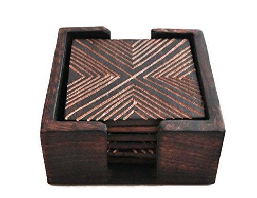 StarZebra Novelty Item Amazing Handmade Retro Wooden Coaster Set with 6 Square Table Coasters and Wooden Holder