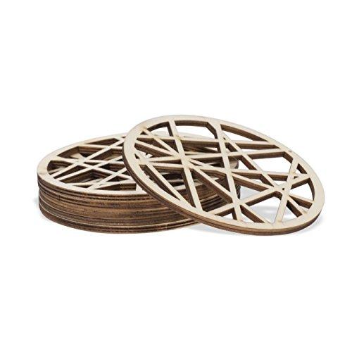 Table Top Décor Modern Laser Cut Design Glass Cup Mug Wooden Coasters Natural Set of 6