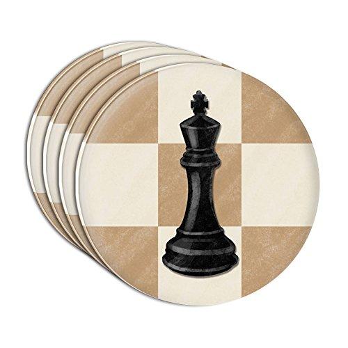 Black King Chess Set Acrylic Coaster Set of 4