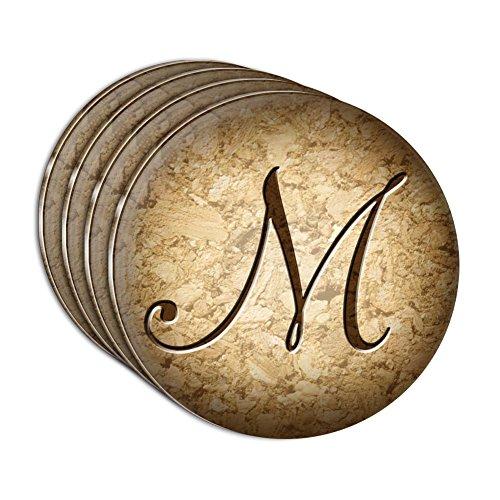 Letter M on Cork Design Acrylic Coaster Set of 4
