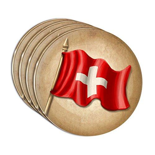 Vintage Swiss Flag - Switzerland Acrylic Coaster Set of 4