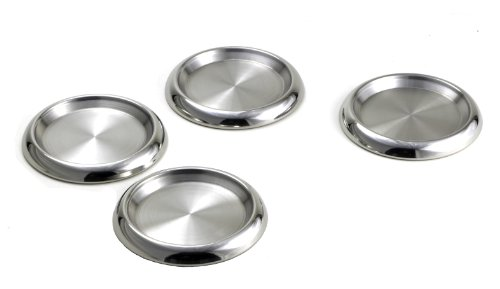 StainlessLUX 77319 4-Piece Stainless Steel Round Coaster Set - Fine StainlessLUX Drinkware for Your Enjoyment