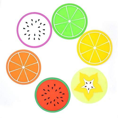 6PCS Round Non-Slip Heat Resistant Mat Colorful Fruit Printed Placemat Pot Holder Table Silicone Coasters Set Color  Multi