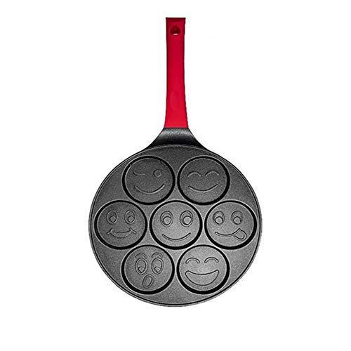Junshan Mini Grill Pan Nonstick Pancake Pan Non-Slip Handle Frying Pan with 7 Different Omelet Molds