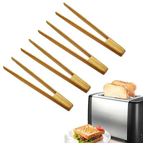HOSIMAY Bamboo Kitchen Toaster Tongs 96 Natural Premium Wood Tongs for Cooking Chef Tool Suitable for Bagel Toast Cake Bacon Muffin Bread Chicken Reusable