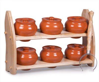 Stoneware Ramekin Set of 6 w Wooden Shelf - 169 fl oz 500 ml - Clay Pots for Cooking