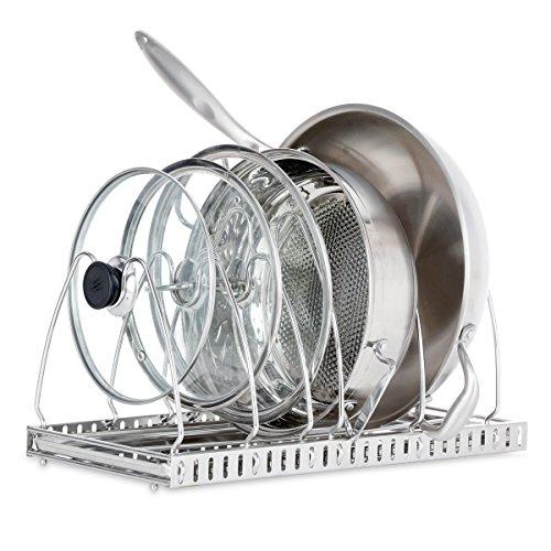 1208S Adjustable Pan Rack Pot Lid Holder Bakeware  Cookware Organizer Stainless Steel