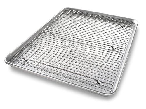 USA Pan Bakeware Extra Large Sheet Baking Pan and Bakeable Nonstick Cooling Rack Set