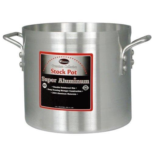 Winco AXS-32 32-Quart 13 x 14 Super Extra-Heavy Aluminum Professional Stock Pot with Reinforced Rim Commercial Grade Sauce Pot
