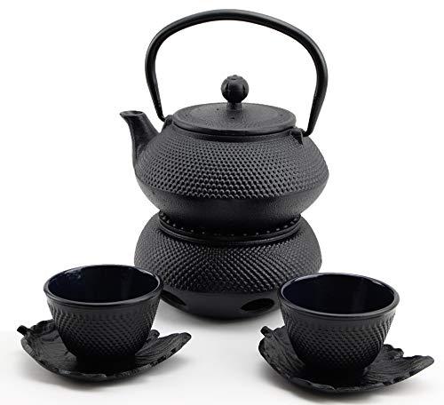 急須きゅうす Hobnail Iron Teapot Set - Japanese Antique 24 Fl Oz Small Dot Cast Iron Teapot Tetsubin with Infuser 2 Cups with Saucers and Teapot Warmer Birthday gift idea for gift price 120
