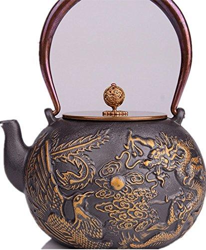 RUIKA Japanese tetsubin Cast Iron Teapot Dragon phoenix pattern Kettle 1400ml 48 Ounce