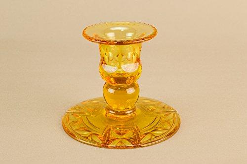 Art Deco Vintage Stuart Faceted Small CANDLESTICK Unusual Elegant Glass Amber Unique Old English 1920s LS