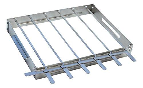 KonExcel SkeweRack - Turns 6 Kabobs Simultaneously Sturdy Stainless Steel Shish Kabob Skewer Rack Set 1 Rack  6 Skewers