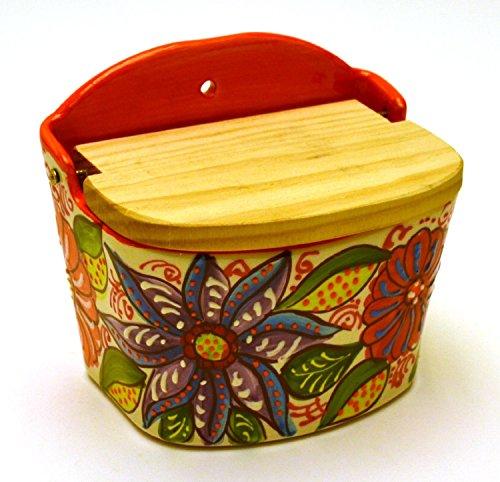 Ceramic SALT POT handmade and handpainted in flower decoration 1198 x 374 ORANGE