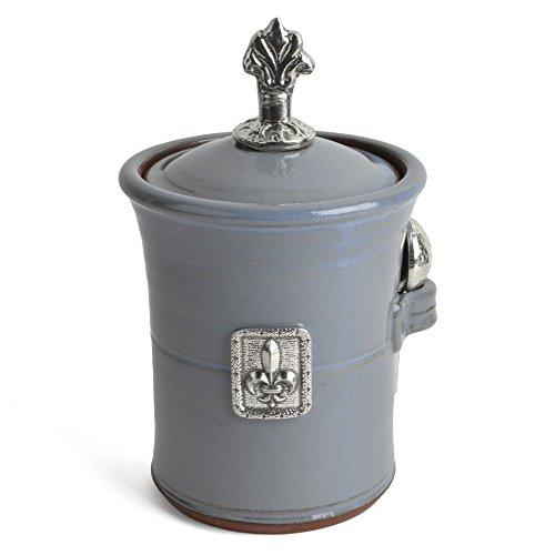 Oregon Stoneware Studio Fleur de Lys Salt Pot with Pewter Finial Slate