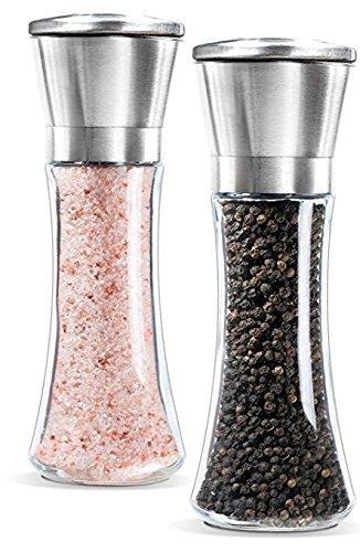 Romote Salt and Pepper Grinder Set6 Oz Peppermill Salt Shakers for KitchenPack of 2
